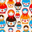Stock Vector: Matreshka doll - seamless vector pattern