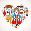 Russilove - heart with vector icons — Stock Vector #12764913