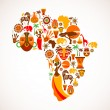 Stock Vector: Map of Africa with vector icons