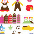 Stock Vector: Collection of vector Netherlands icons
