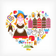 Heart with Netherlands vector icons - Stock Vector