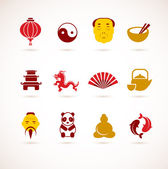 Collection of China icons — Stock Vector