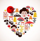 Heart shape with Japan icons — Vecteur
