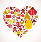 A forma di cuore con icone di cina — Vettoriale Stock
