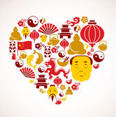 Heart shape with China icons — Cтоковый вектор