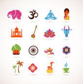 インドのベクトルのアイコンのコレクション — ストックベクタ