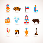 Russia love - heart with vector icons — Vector de stock