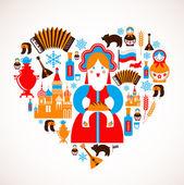 Rusia amor - corazón con iconos vectoriales — Vector de stock