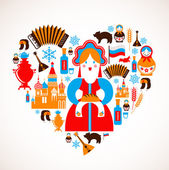 Russia love - heart with vector icons — Vettoriale Stock