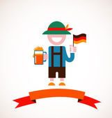 Oktoberfest background - man with beer — Stock Vector