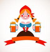 Oktoberfest background - girl with beer — Stock Vector