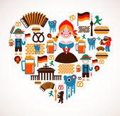 En forma de corazón con iconos de alemania — Vector de stock