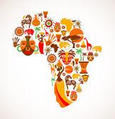 Karta över afrika med vektor ikoner — Stockvektor