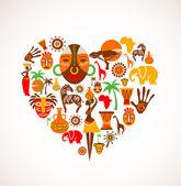 Corazón con iconos vectoriales de áfrica — Vector de stock