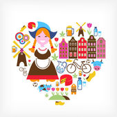 Heart with Netherlands vector icons — Stock Vector