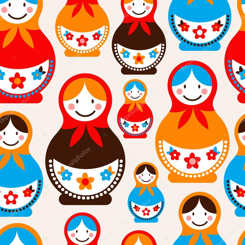 Matreshka doll - seamless vector pattern — Stock Vector #12764676