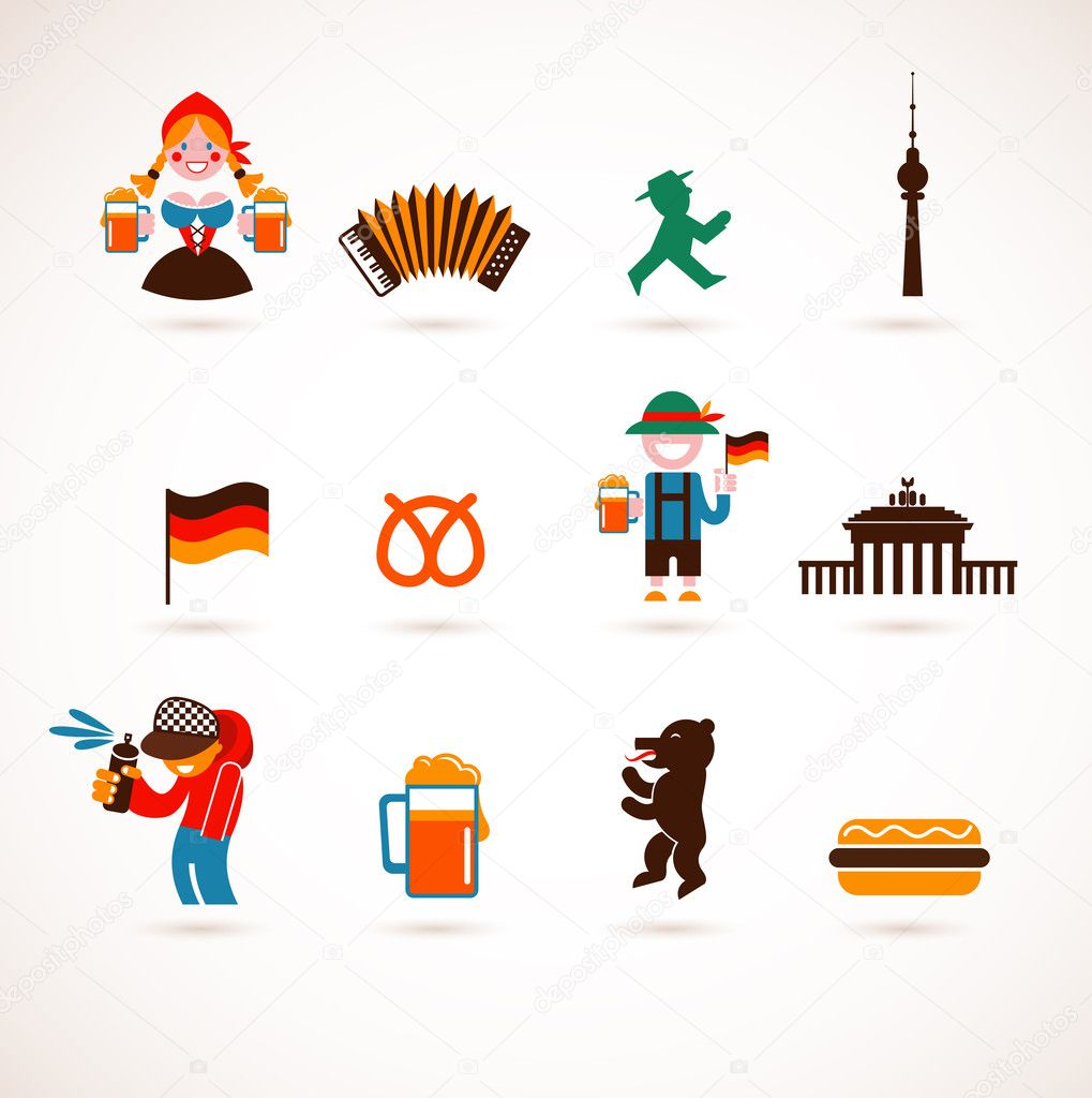 Collection of Germany vector icons — Imagen vectorial #12764900