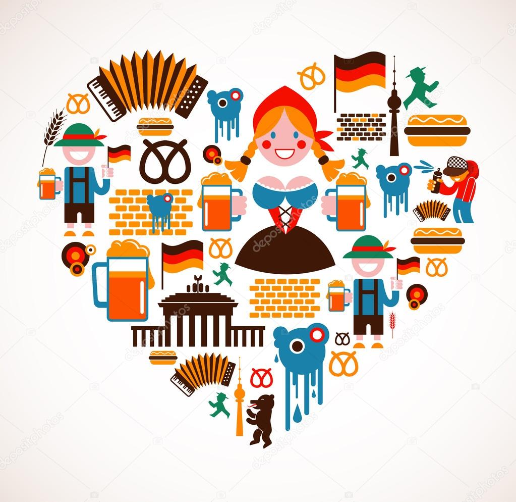 Heart shape with collection of Germany icons — Stock Vector #12764935
