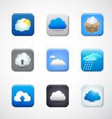 ícones do app de nuvem — Vetor de Stock