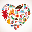 Spain Love - heart with set of vector icons — Stock Vector