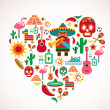 Stock Vector: Mexico love - heart with set of vector icons