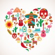Mexico love - heart with set of vector icons — Stock Vector