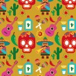 Mexico - vector pattern with icons - Stock Vector