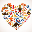 Australia love - heart with set of vector icons — Stock Vector