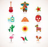 Mexiko love - sada vektorových ikon — Stock vektor