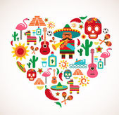 Mexico love - heart with set of vector icons — Vettoriale Stock