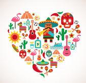 Mexique amour - coeur avec ensemble d'icônes vectorielles — Vecteur