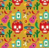 Mexico - vector pattern with icons — Vecteur