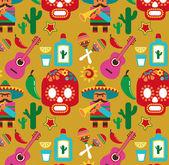 México - padrão de vetor com ícones — Vetorial Stock