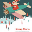 Christmas background with retro airplane and Santa — Stock Vector