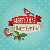 Fondo de navidad con aves y holly hojas — Vector de stock