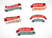 Retro Christmas background ribbons with text — Stock Vector
