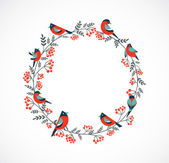 Christmas wreath with birds and ashberry — Stock Vector