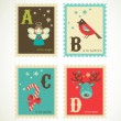 Christmas retro alphabet with cute icons — Image vectorielle