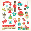 Royalty-Free Stock Vector Image: Christmas retro icons, elements and illustrations