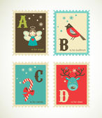 Christmas retro alphabet with cute icons — Stock Vector