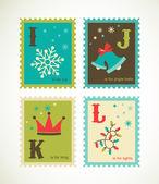 Christmas retro alphabet with cute icons — Stock Vector