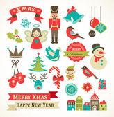 Noel retro simgeler, öğeleri ve çizimler — Stok Vektör