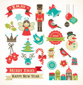 Weihnachts-retro-icons, elemente und illustrationen — Stockvektor