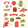 Kerstmis vintage labels, elementen en illustraties — Stockvector