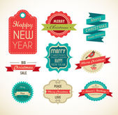 Christmas vintage labels, elements and illustrations — Stock Vector
