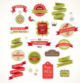 Las ilustraciones, los elementos y etiquetas navideñas de vintage — Vector de stock