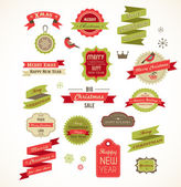 Christmas vintage labels, elements and illustrations — Stockvektor