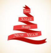クリスマス ツリーとリボンのビンテージ グリーティング カード — ストックベクタ