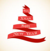 Weihnachtskarte jahrgang begrüßung mit baum und bändern — Stockvektor