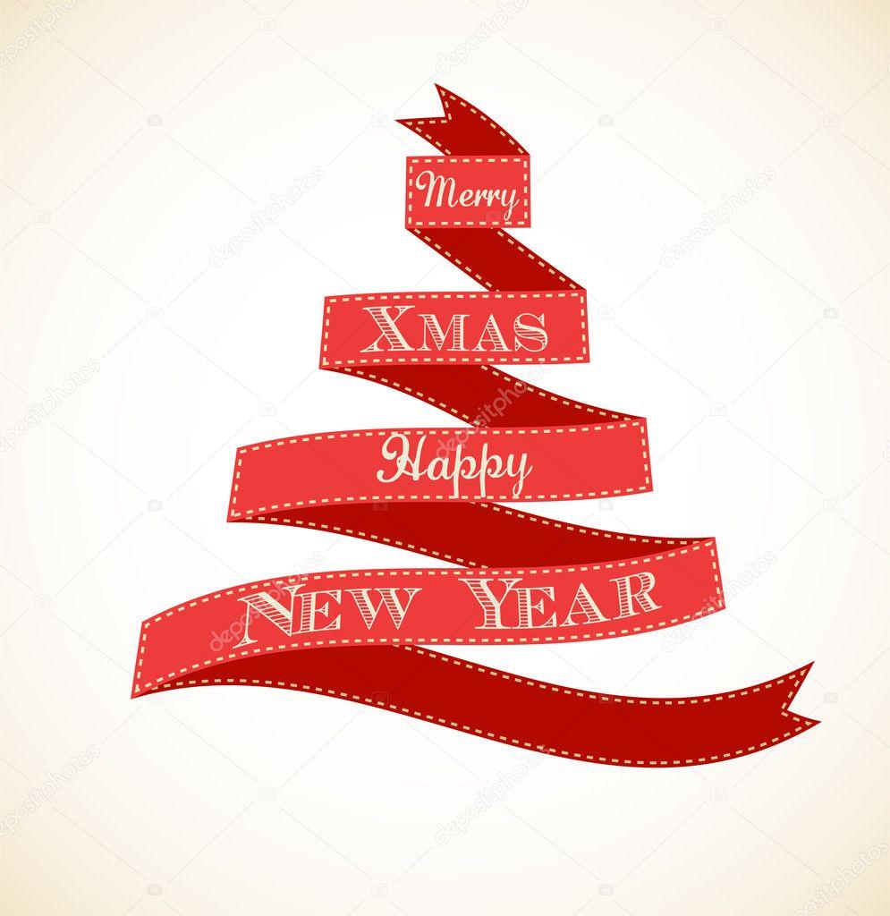 Navidad tarjeta de felicitaci n vintage con rbol y cintas - Cintas arbol navidad ...